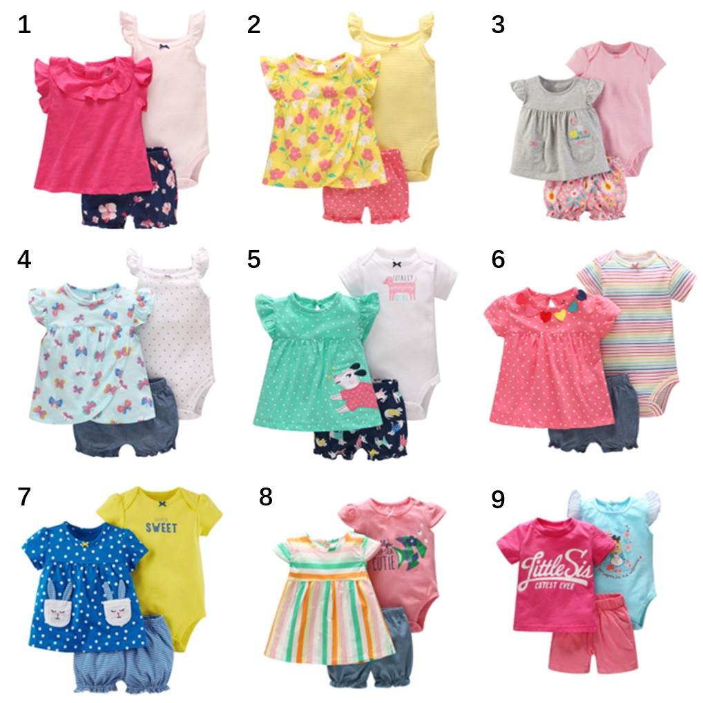 7e50d40343c4d Vlinder ready stock baby rompers girl clothing set blouse+romper+pants 3pcs  cotton short sleeve toddler clothing