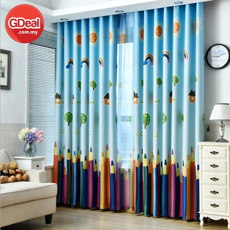 GDeal 【Thick Curtains】Shading Environment Protection Curtain Pencil Perforated Cloth Rural Decoration Langsir (100x250)