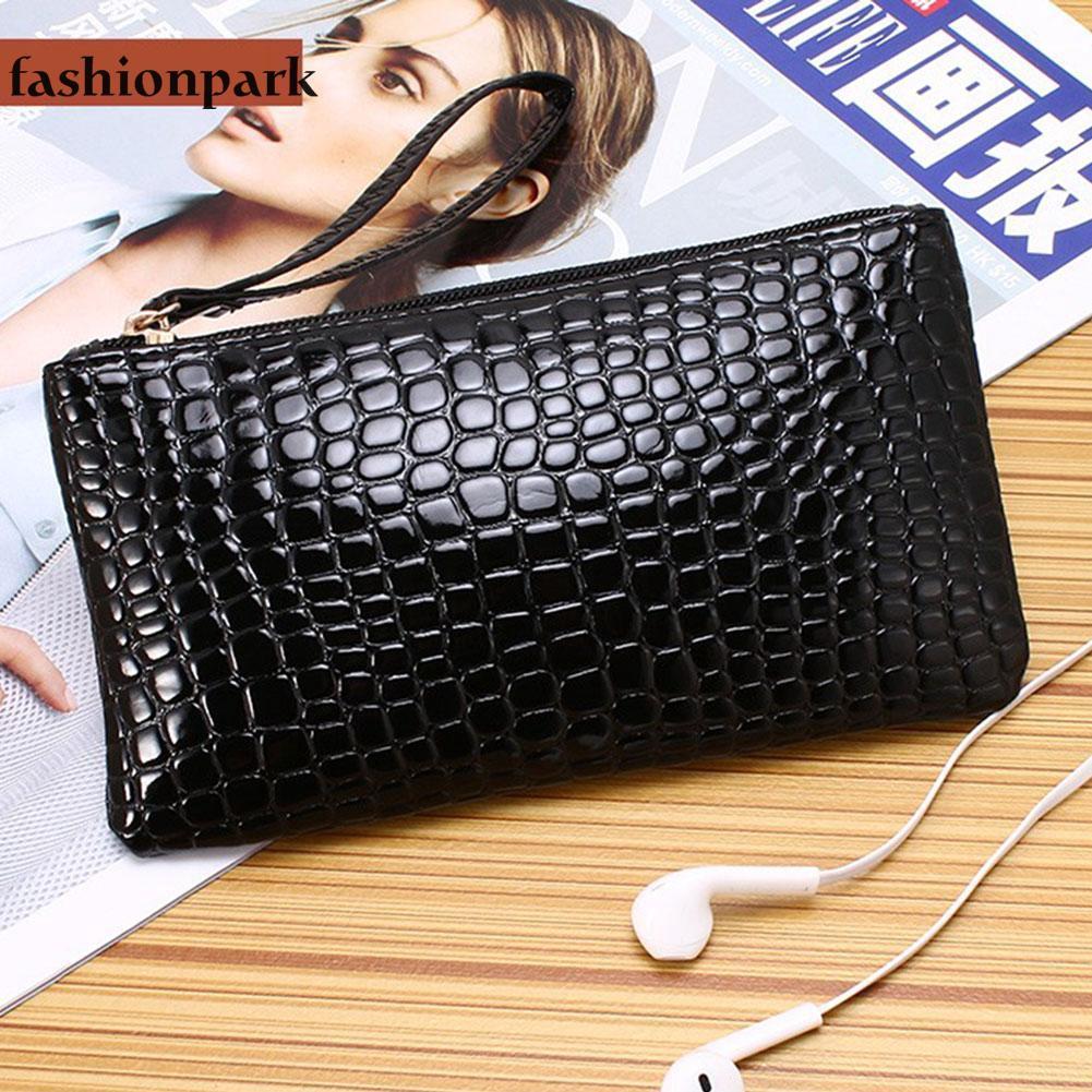 66d08e02f4fd6 Women PU Leather Plaid Clutch Lady Coin Long Purse Wallet Wristlets