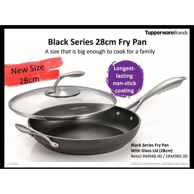 Tupperware Black Series Fry Pan with Glass Lid 28cm