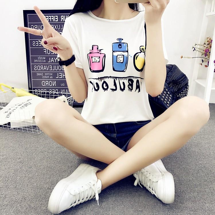 856短袖t恤白色三个香水瓶指甲瓶上衣印花潮