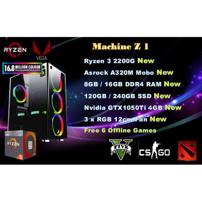 #PUBG Gaming Ryzen 3 2200G 1TB HDD 16GB DDR4 GTX1050Ti Win 10 Gaming RGB  Rig#