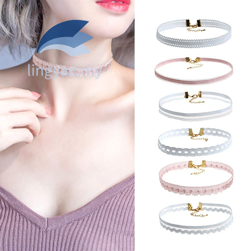 7X Women Elegant Charm Necklace Set Lace Hollow Black Clavicle Choker Jewelry