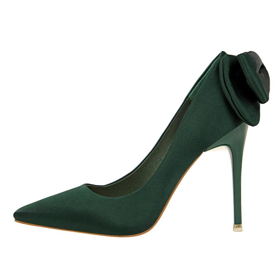 dbf69decf0 Women Luxury Design 10cm High Heels Bridal Butterfly-knot Satin Pumps  Ladies Pointed Toe Green Heels Female