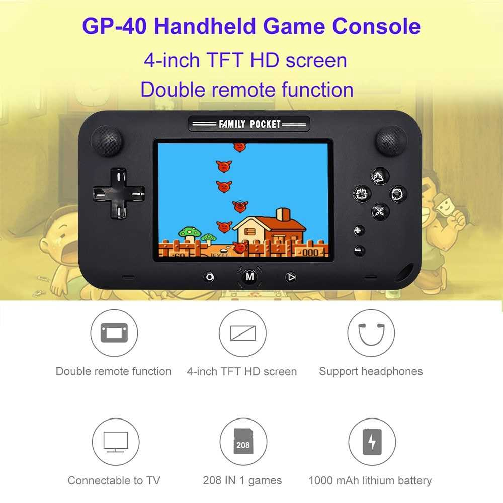 GP40 Nostalgic Handheld Game Console Joystick Console Built-in 208 NES Games 4.0 Inch TFT HD Screen Children Birthday G