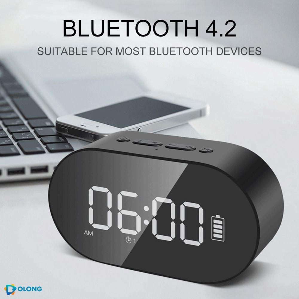 Mirror finish Clock Radio speaker Bluetooth Speakers FM portable sound box bass