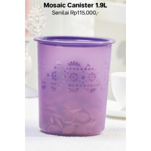 Tupperware 1.9 Liter One Touch Airtight Liquid Tight Canister Pretty Lily Purple