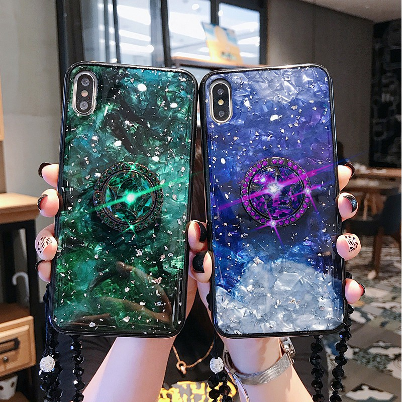ekaka casing vivo Y79 Y81s Y81 V11 X21 V7 x21s X9 X9S X20 Plus X21i Shell  stars bling foil silver Phone Cases cover