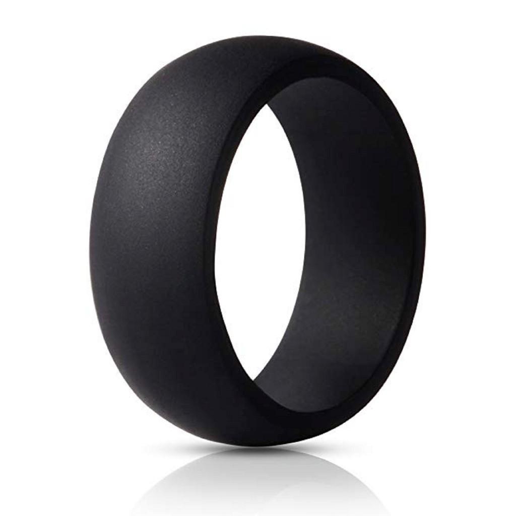 Black Silicone Rubber Flexible Wedding Ring Band For Men Women