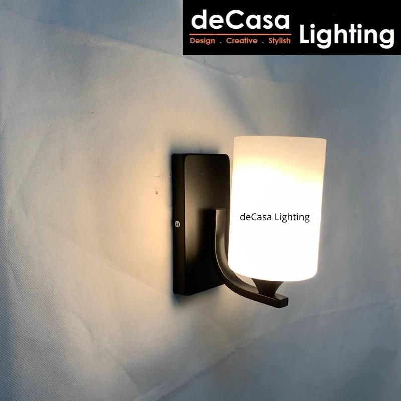 DECASA LIGHTING Set With 7w Led Bulb Modern Simple Glass Wall Light E27 Holder Designer Wall Lamp Lampu Dinding (W1906)