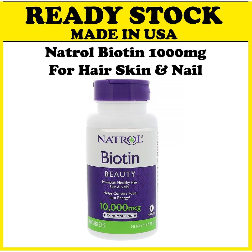 Natrol Biotin 10000 Mcg 100 Tablets Shopee Malaysia
