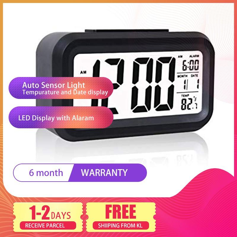 READY STOCK DELLY LED Digital Clock Time With sensor light Calendar & Thermometer Black Stock ada di TANGAN Hot Selling