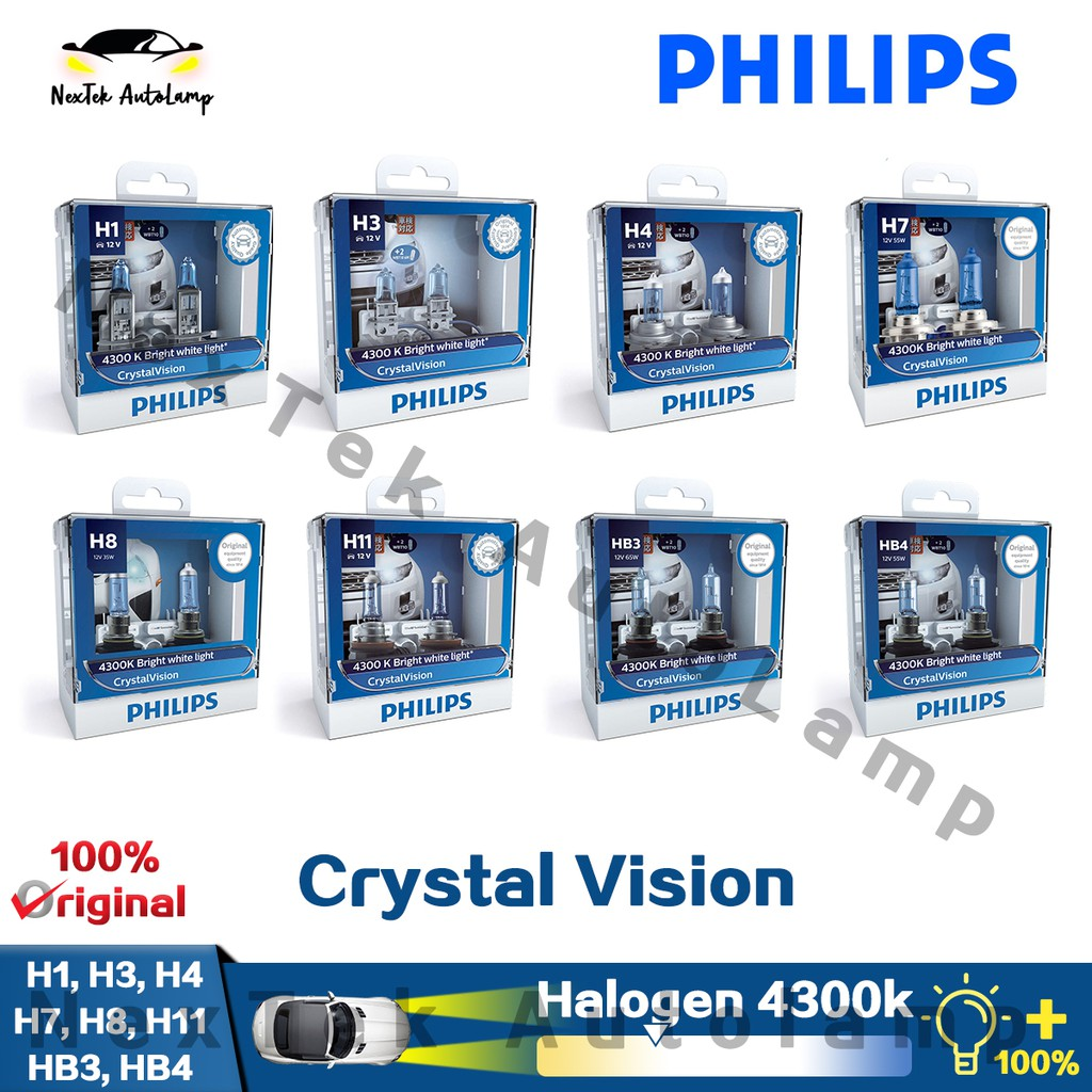 Philips Crystal Vision H1 H3 H4 H7 H8 H11 HB3 HB4 Car Halogen Headlight  Bulb 4300K Fog lamp