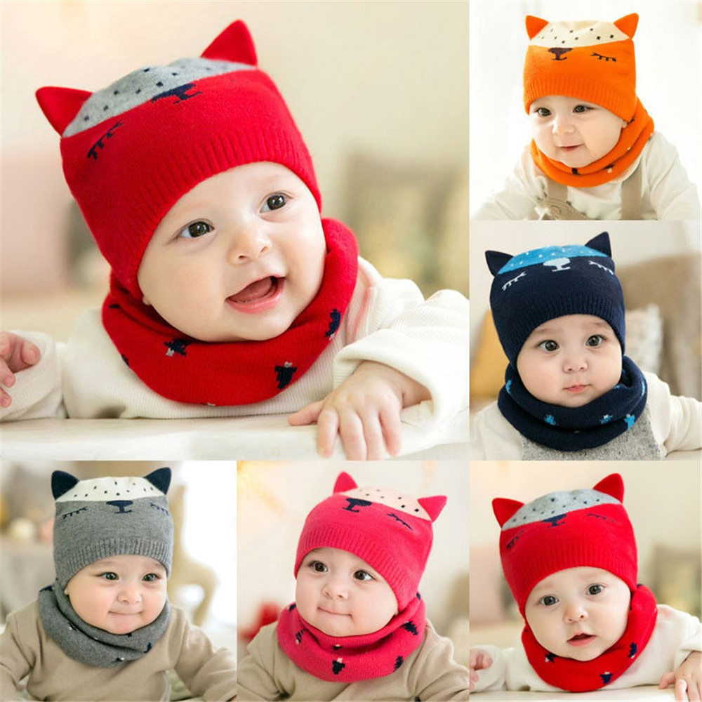 3b930713f Kids boys girls knitted beanies and scarf set baby winter ski cap ...
