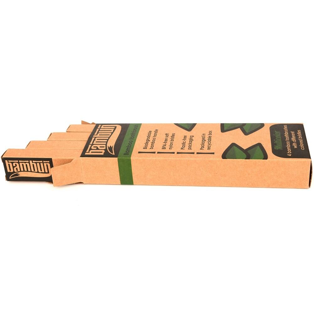Bambun Bamboo Toothbrush – Box of 4 Colours