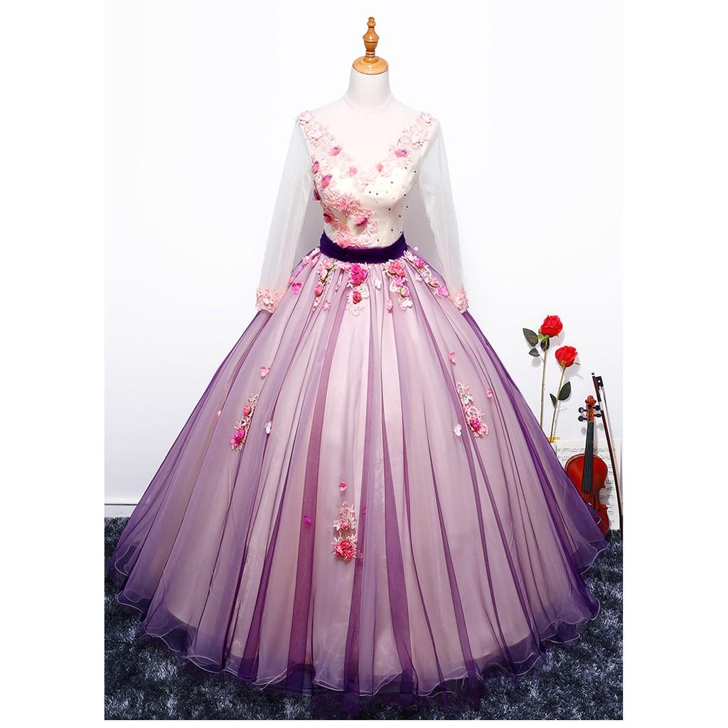 Wedding Gown Malaysia: BEAUNIQUE V-Neck Satin Long Sleeve Muslimah Wedding Dress