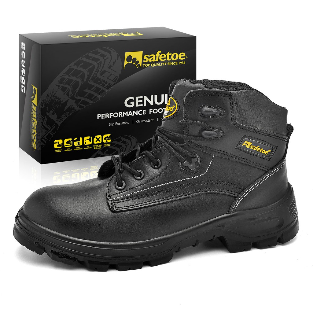0d08d903a34 SAFETOE Men Safety Boots Work Shoes - M8356B Black Waterproof Leather Work  Boots