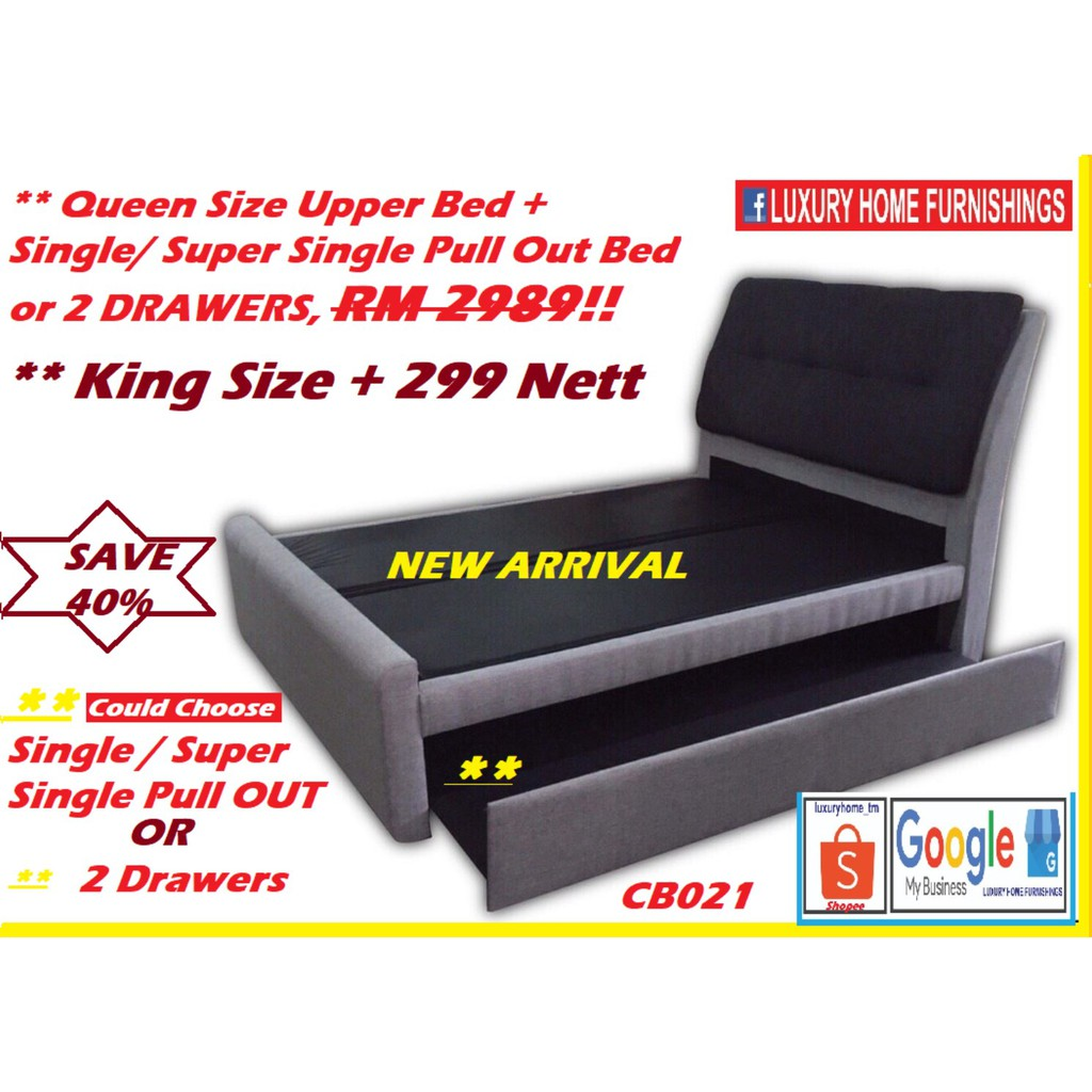 RIANA ,DESIGNER SERIES Queen SIZE UPPER BED +  SINGLE PULL OUT DIVAN SET, WATER REPELLENT  FABRIC!! RM 2,989!! 40% Off!!