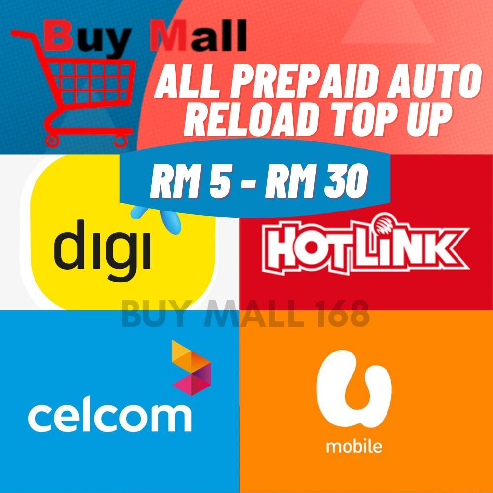 Telco Digi Hotlink Celcom Umobile Xox Redone Tunetalk Prepaid Card Rm5 Rm10 Rm30 Auto Reload Top Up Shopee Malaysia