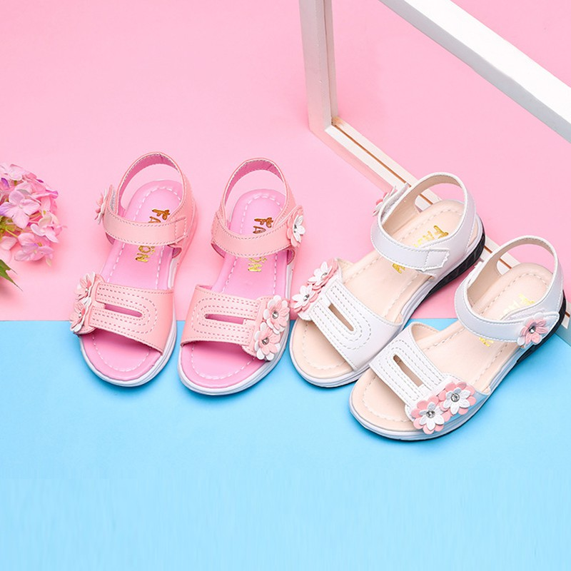 48561bee099a0 ProductImage. ProductImage. Ready Stock Kids Shoes Girls Flower Open Toe  Flat Strap Sandals Summer