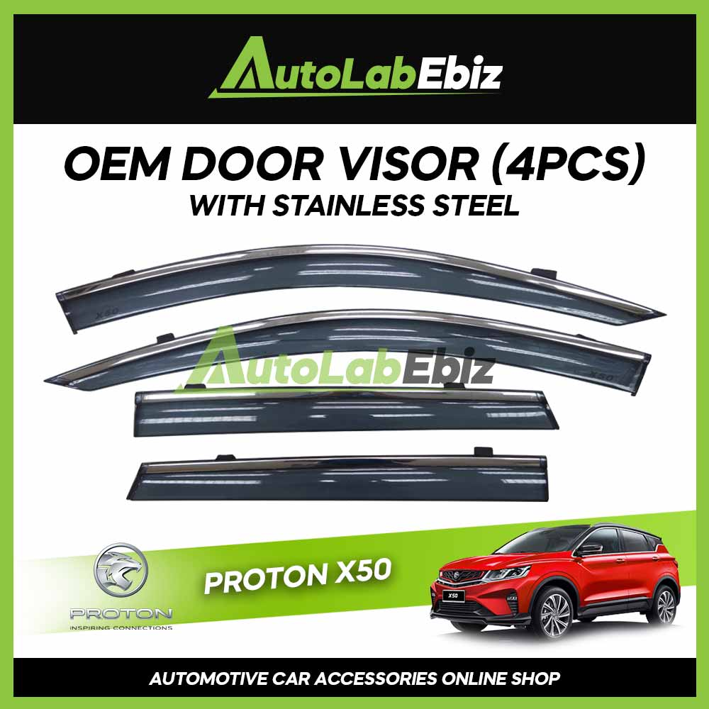 Proton X50 OEM Door Visor Injection with Stainless Steel Chrome (4 pcs)