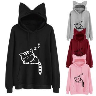 aa4da6c999f80b Women Cat ear Long Sleeve Sweatshirts Sweater Coat Tops Hoodie Sweatshirt  Hooded | Shopee Malaysia