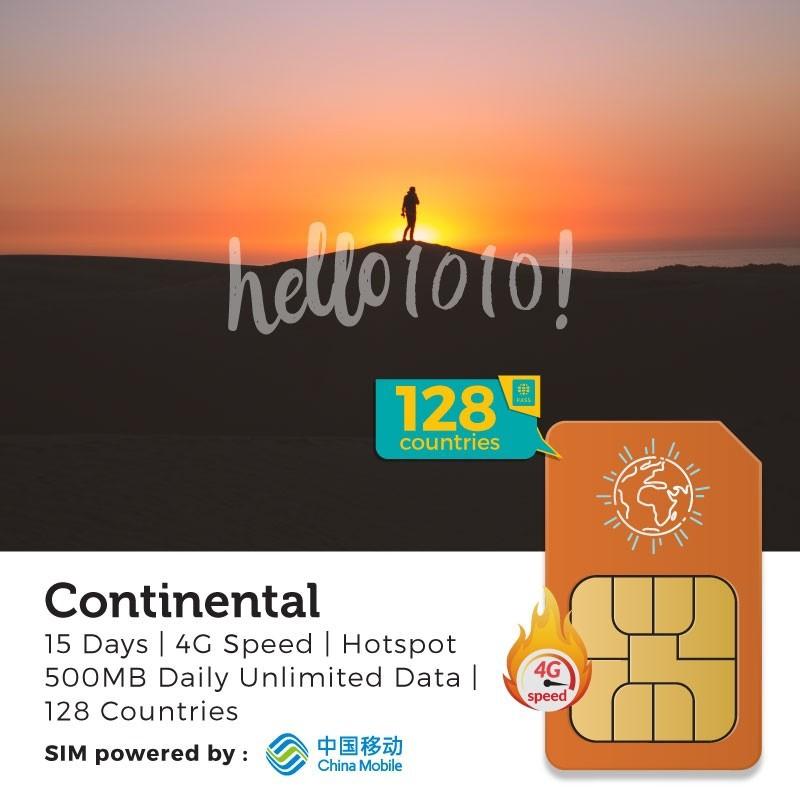 Continental 128 Countries (15 Days) Travel Prepaid SIM Card