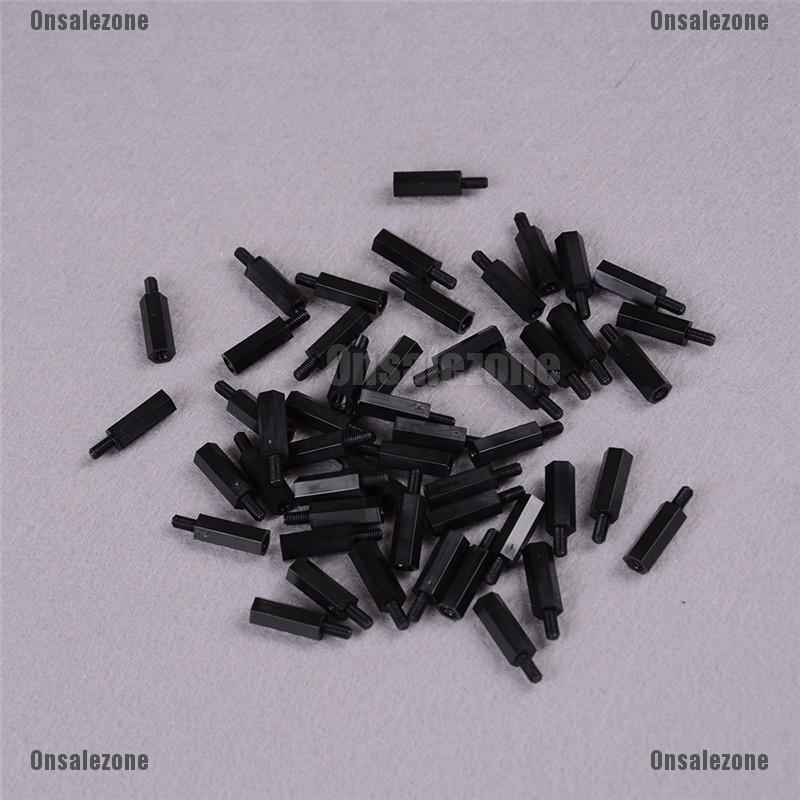 100pcs M3 Black Nylon Standoff M3 5 6 8 10 12 15 18 20 25: [Ready Onsalezone] 50Pcs Black Plastic Nylon M3 Hex Column