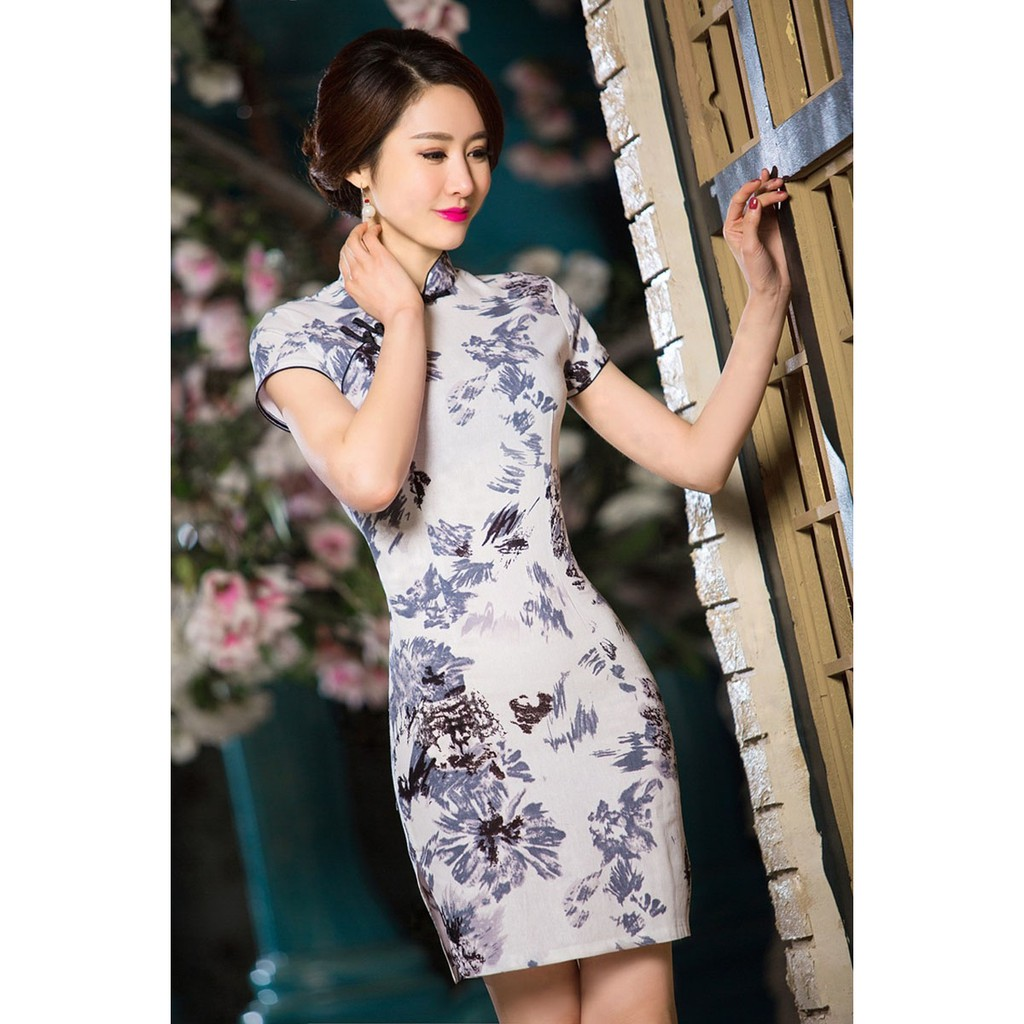 Female Linen Cheongsam Dress Chinese Traditional Floral Qipao Dresses for  Women  3d41d76dd9e8