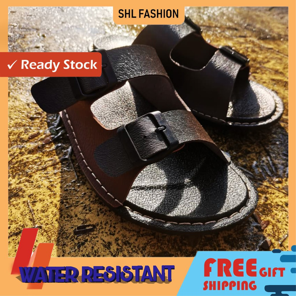 SHL Men PU Leather Sandal Water Assistant Premium Selipar Kasut Lelaki size 6-10【男士拖鞋】