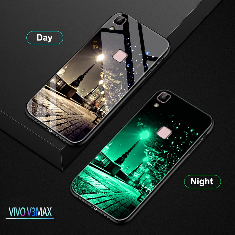 Case Vivo V3 Max Luminous HD Tempered Glass Hard Phone Case Luxury Mobile  Cover