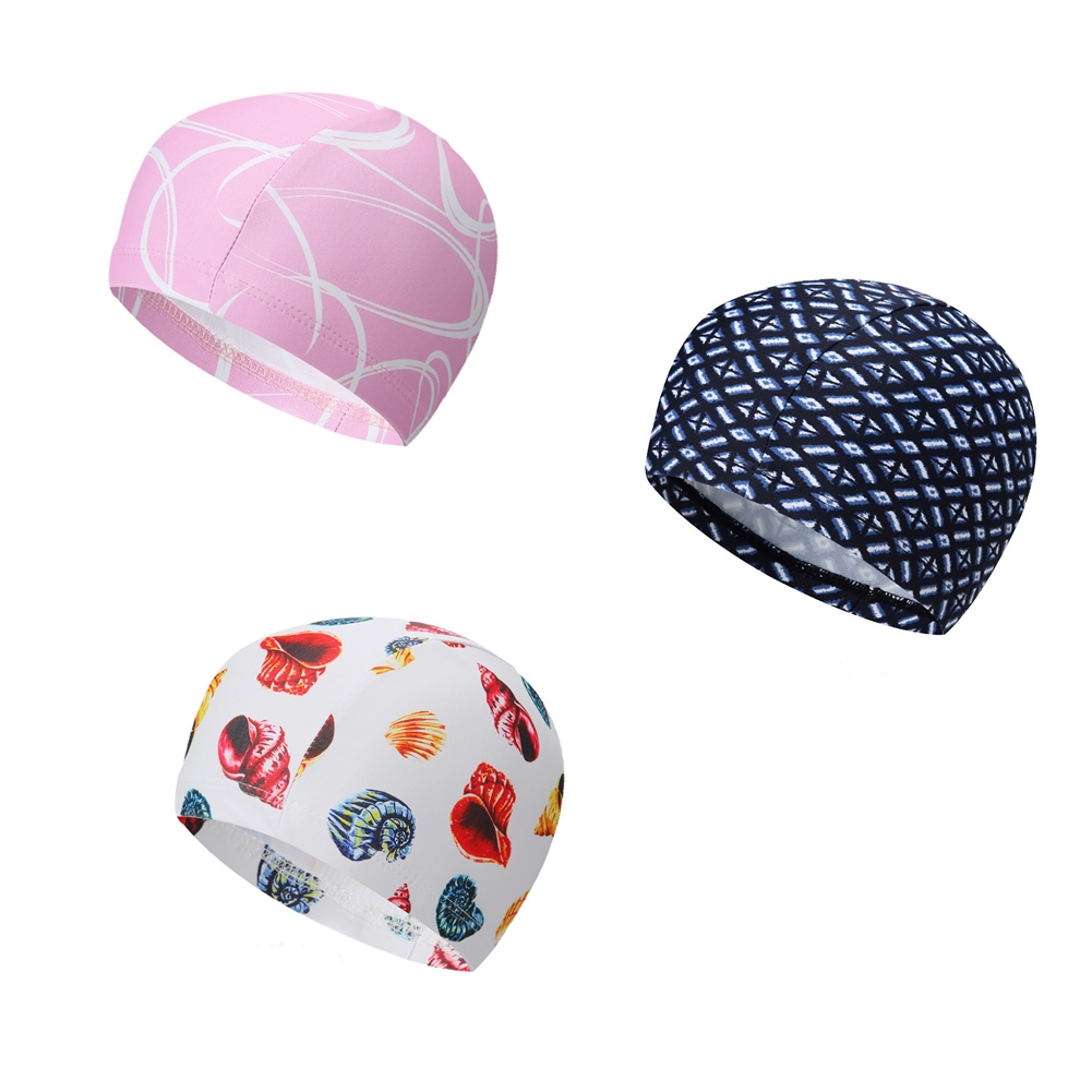 Women Men Printed Durable Elastic Fashion Ear Protection Summer Adult Quick Dry Swimming Cap