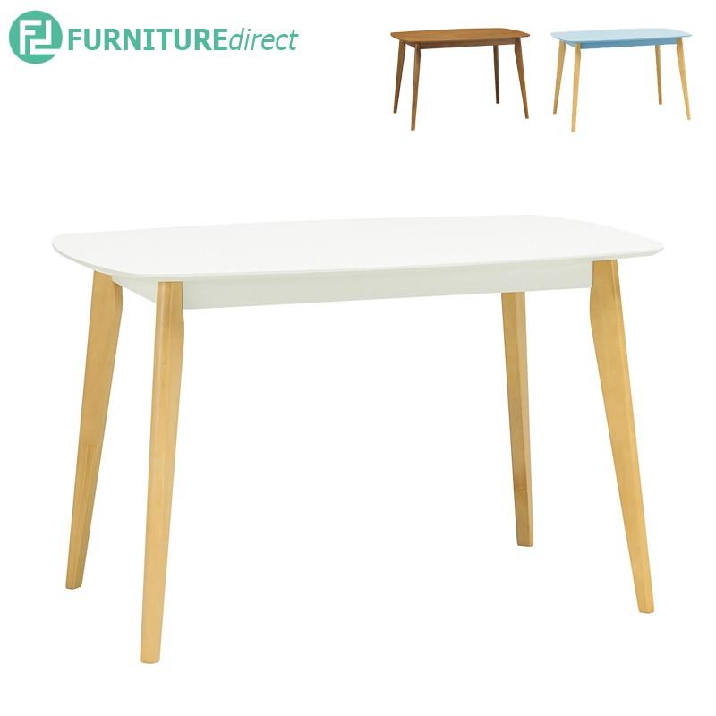 Arthur 1.2M solid rubberwooddining table in Cocoa leg