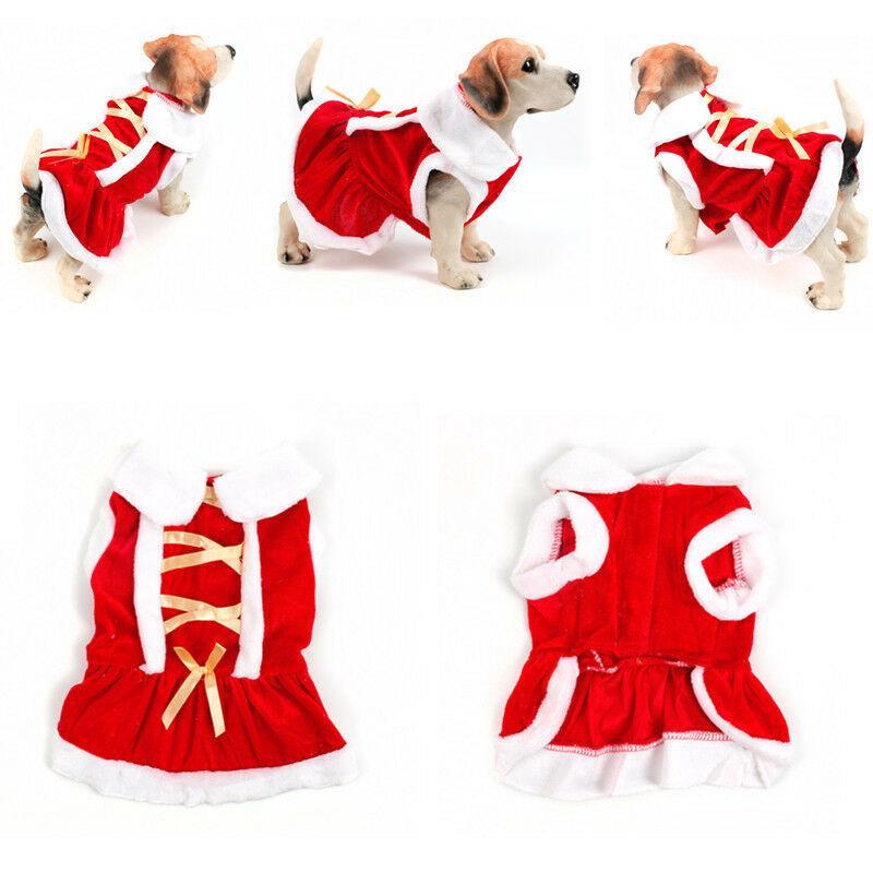 Christmas Dog Costumes.Santa Christmas Dog Pet Puppy Cat Coat Xmas Party Pet Red Dress Costumes Apparel