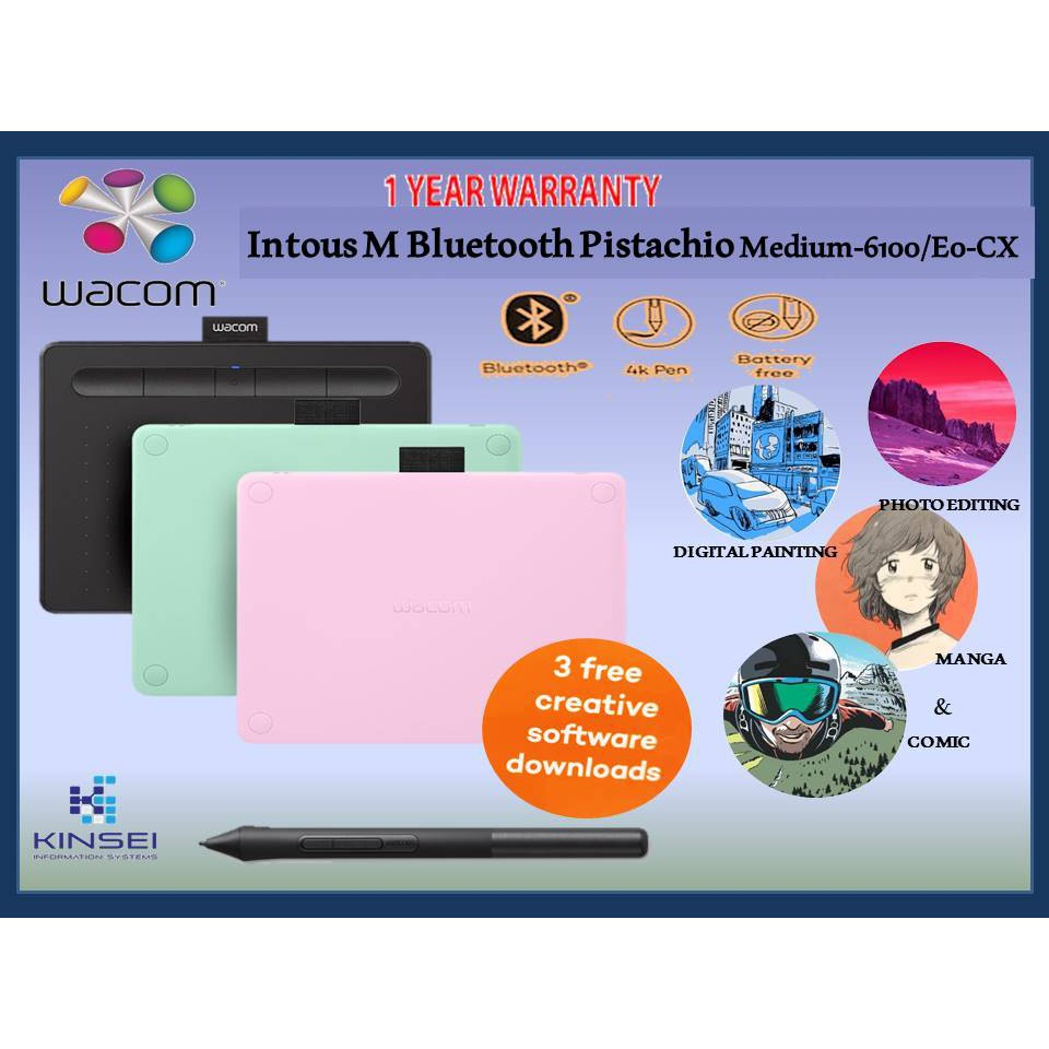 Wacom Intuos Medium Wireless Bluetooth Pen& Graphics Tablet (CTL-6100WL)