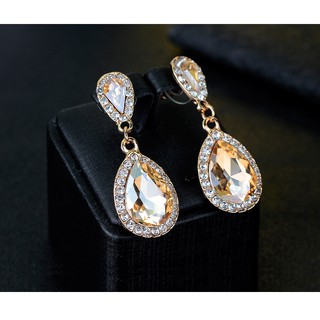 Elegant Bridal Teardrop Champagne Zircon Wedding Long Earrings Engagement Jewelry Accessories