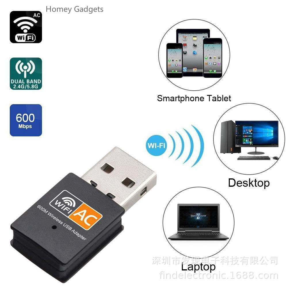 💥【READY STOCK】Wireless 600Mbps WiFi Adapter 2.4GHz 5GHz WiFi Mini USB  Network Card for Laptop Windows XP Vista/7/8/8.1/10 Mac OS