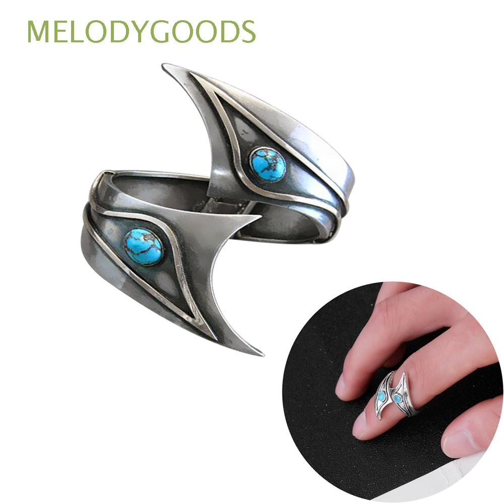 Women's Adjustable Ring Turquoise Ring Leaves Open Silver Plated Simple Style