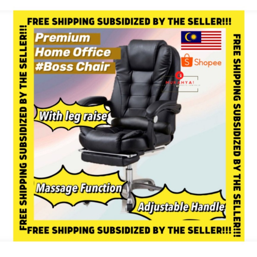 Premium Home Office Chair Boss Style Gaming Chair With Massage Function Local Seller Shopee Malaysia