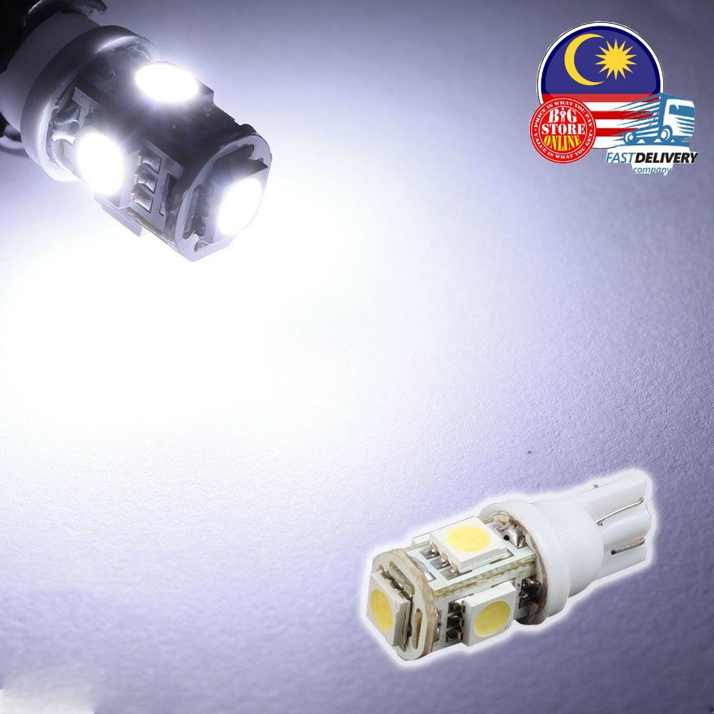 10Pcs Super White T10 Wedge 5 SMD 5050 LED Light bulbs W5W 2825 158 192 168 194