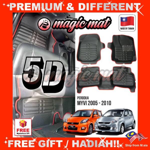 [FREE GIFT Gift] PERODUA MYVI SE1 SE2 LE 2005 - 2010 (5 Seater) MAGIC MAT 5D OEM PU Leather Floor Mat Anti-Slip Carpet