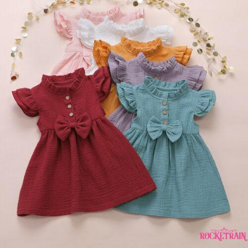 Toddler Kids Baby Girl Solid Linen Button Ruffle Princess Party Dress Clothes