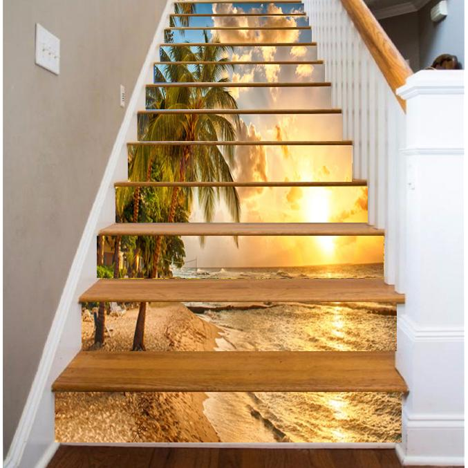 13pcs 3d Sunset Palm Tree Ocean Beach Staircase Stickers
