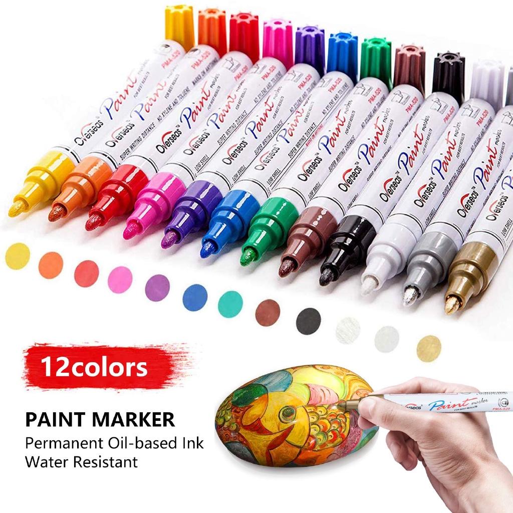 5 marker pens fine Stone Ceramic Glass Black Paint Pens for Rock Painting