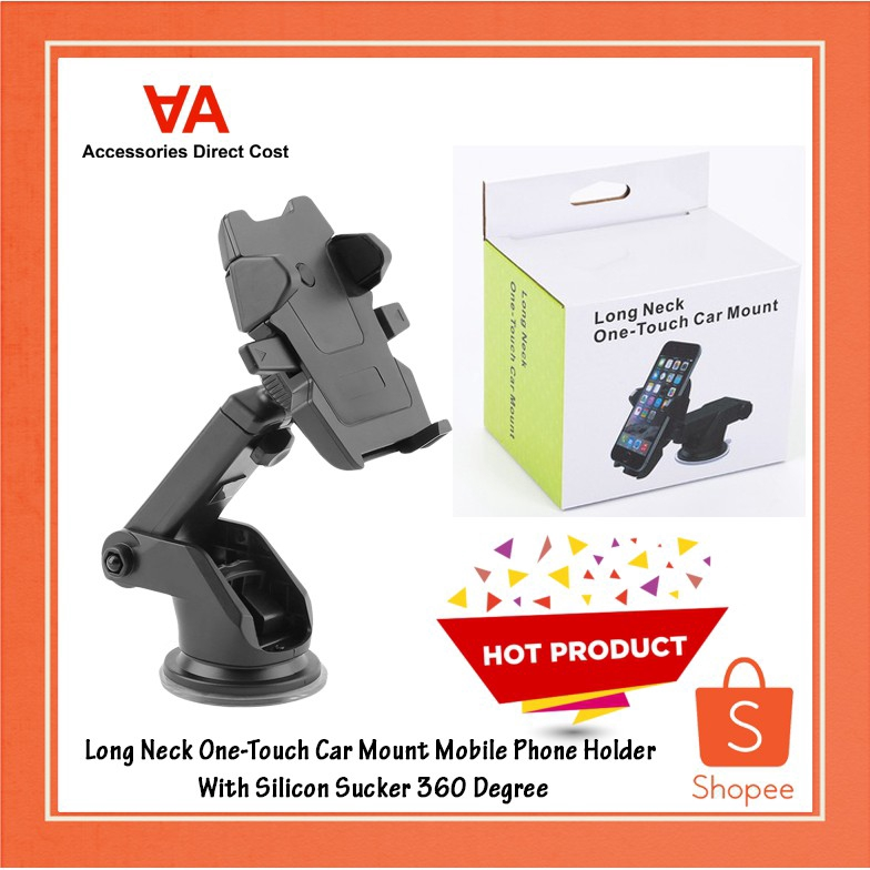 Long Neck One-Touch Car Mount Mobile Phone Holder With Silicon Sucker 360 Degree