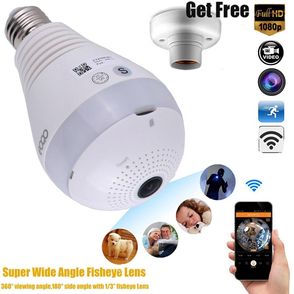 360 Degree Wifi Panoramic HD 1080P Hidden IR Camera Light Bulb Security FishEye
