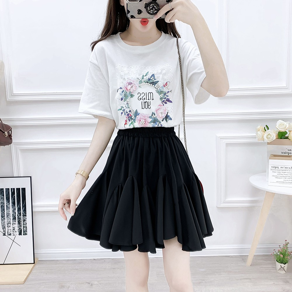 37a8153ef New web celebrity summer skirt fashion suits female T-shirt cake skirt  skirts embroidered two-piece clothing set vestido