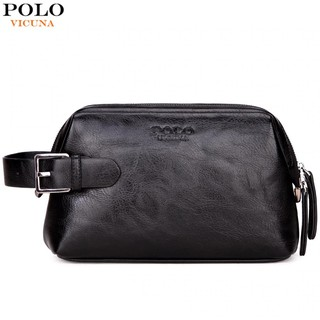 35567c6c51cf4 VICUNA POLO Leather Clutch Wallet Wash Bag With Buckle Man Travel  Multifunction