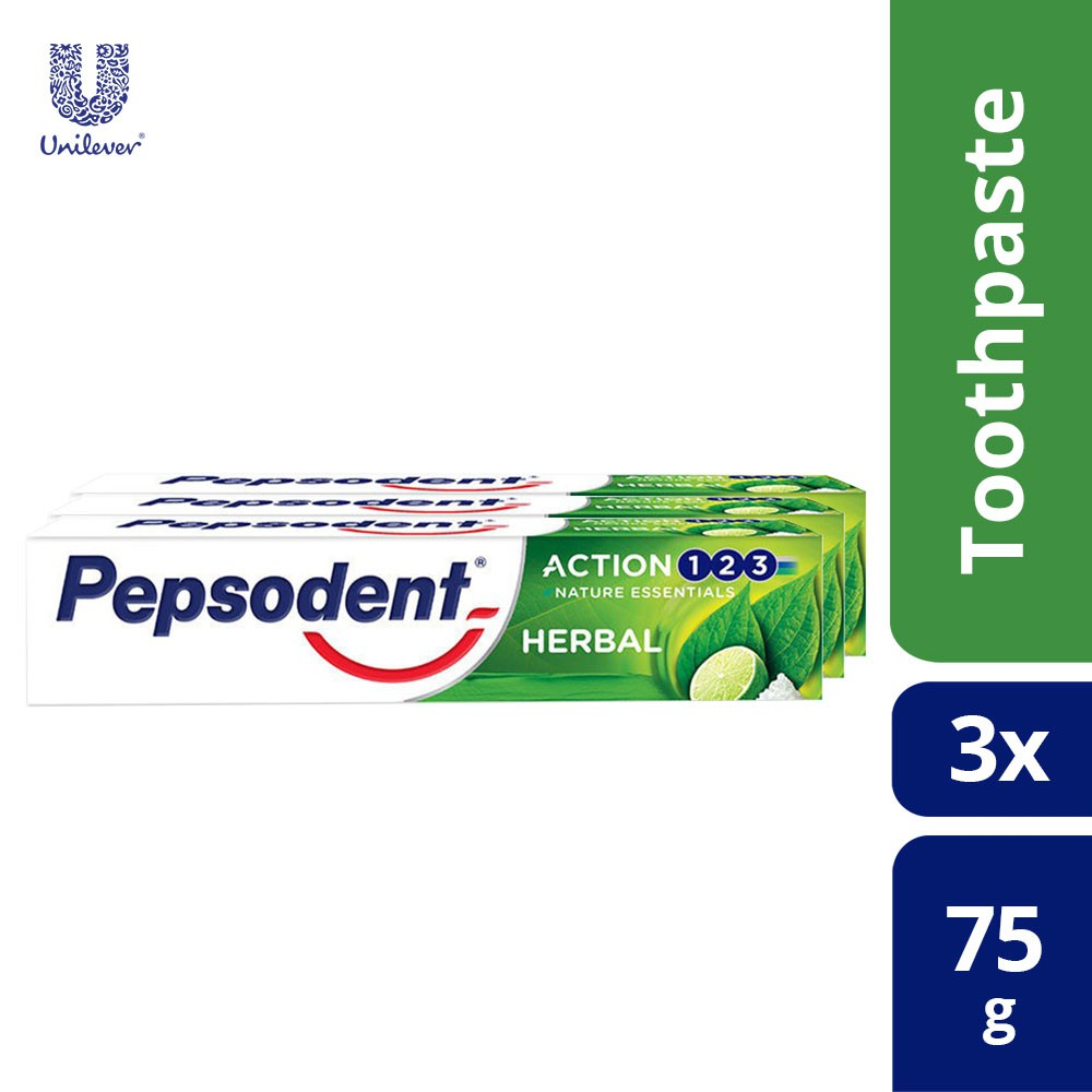 Pepsodent Action 123 Herbal Toothpaste 75g [x3 Packs]
