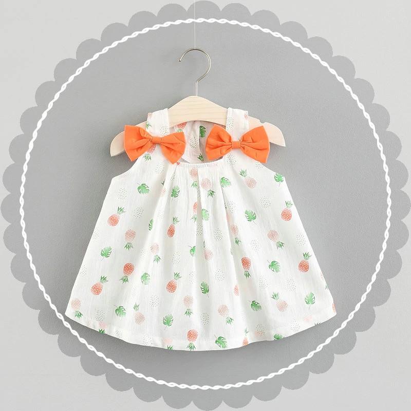 09f18c24cea71 BNWIGE Girl Dress Summer Print Flower Strawberry Bow Cotton Dress Baby  Clothing
